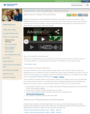 Screenshot of Intermountain Healthcare Advance Planning